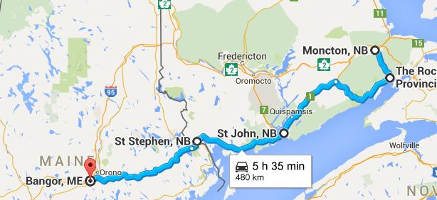 Traseul din ziua 4: Moncton - The Rocks - Fundy Park - St John - Bangor