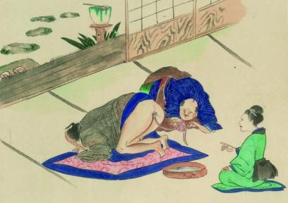 """Poză din manual medical japonez - 1850. Explicația, neinclusă cu poza spune """"Omul a mâncat somon masu. După un timp, un obiect ciudat i-a ieșit din anus și a fost extras: avea 2-3m lungime."""""""